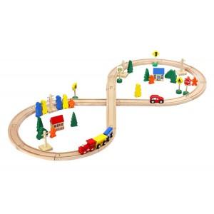 Fa vonat játékszett - 50 darabos