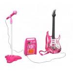 Elektromos gitár szett erősítővel és mikrofon állvánnyal