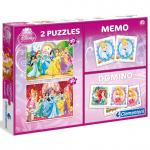 Clementoni Disney Hercegnők 4 az 1-ben Memória, dominó, puzzle 2x30 darabos