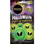 Világító LED-es ufós, halloween lufi 4db-os csomag