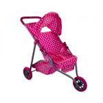 Játék babakocsi 3 kerekű - rózsaszín pöttyös mintával